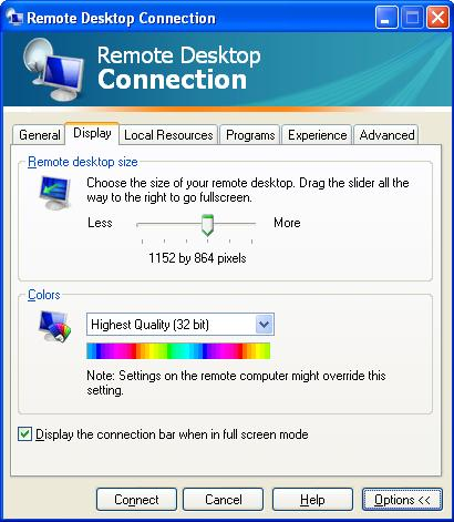 Remote Desktop Display Options